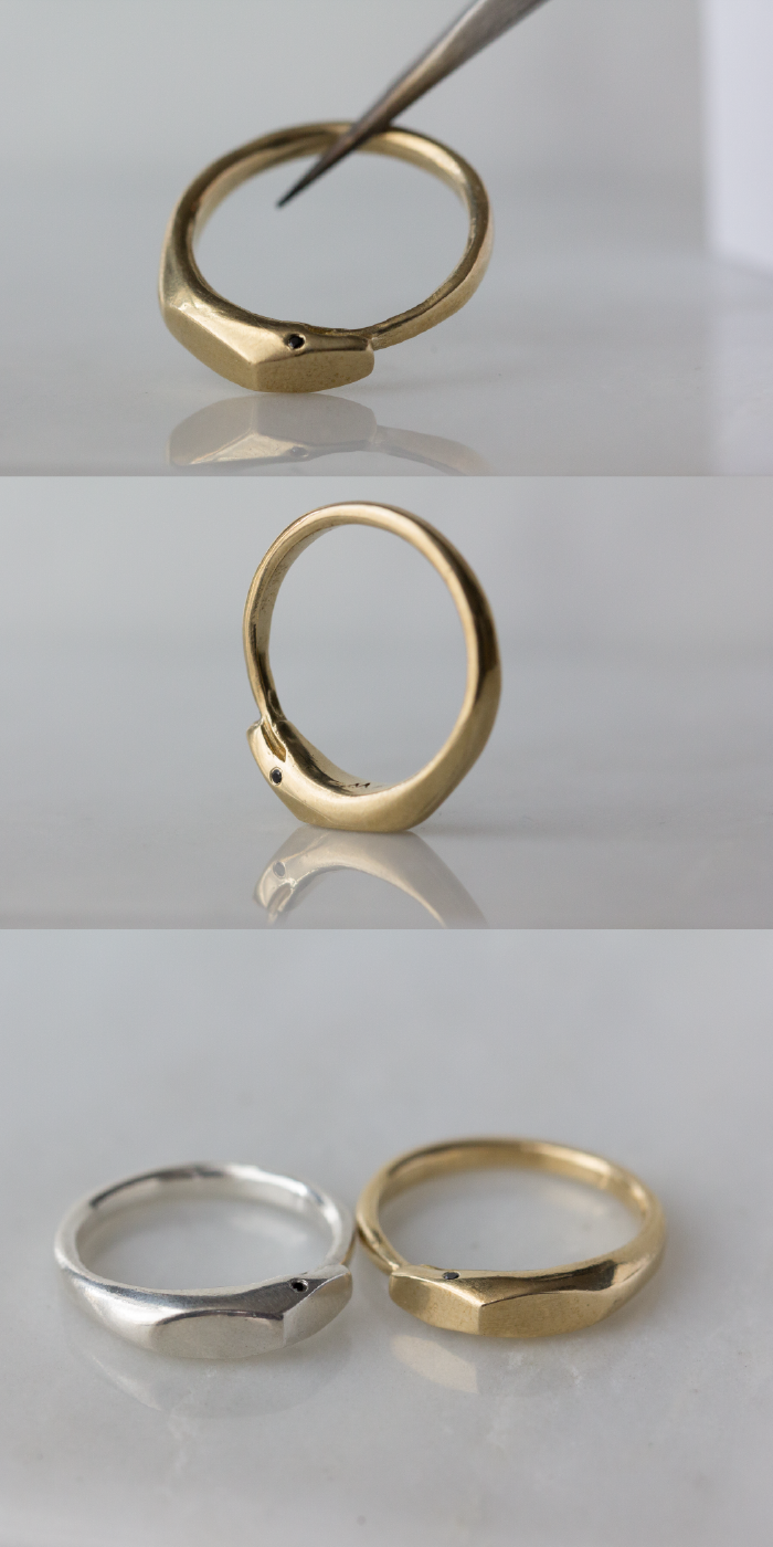 Ouroboros Ring In Solid 14k Yellow Gold With Black Diamond Eyes