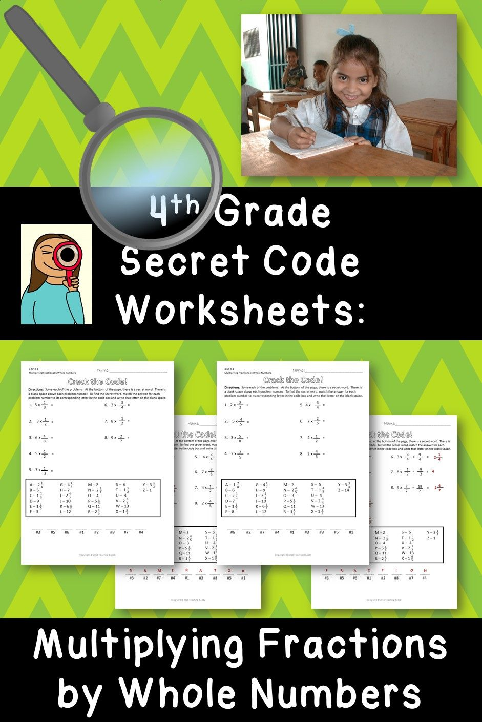 Multiplying Fractions By Whole Numbers 4th Grade Secret Code Common