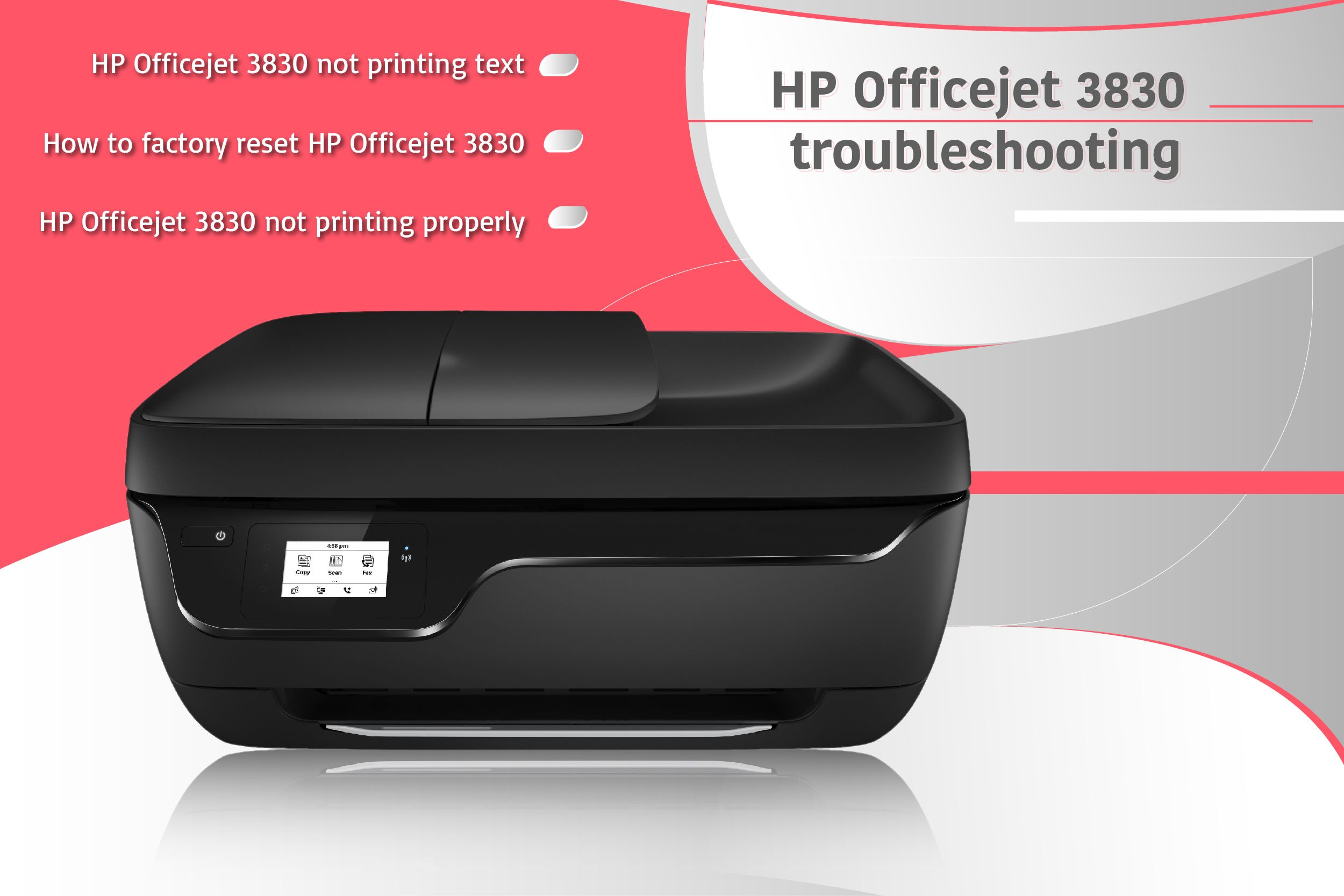 How to do factory reset for HP Officejet 3830 printer &Solve