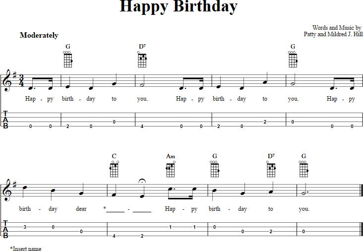 Happy Birthday Chords Sheet Music And Tab For Baritone Ukulele With Lyrics Ukulele Ukelele Songs Ukulele Songs