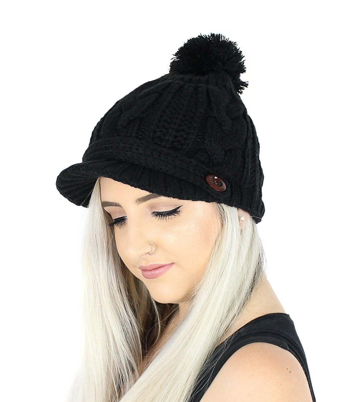 647fc8721 PomPom Cable Ribbed Knit Beanie Hat w/ Visor Brim - Chunky Winter ...
