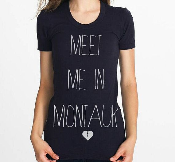 Meet me in Montauk Womens slim fit graphic tshirt Black  https://www.etsy.com/listing/200808080/women-black-tshirt-meet-me-in-montauk