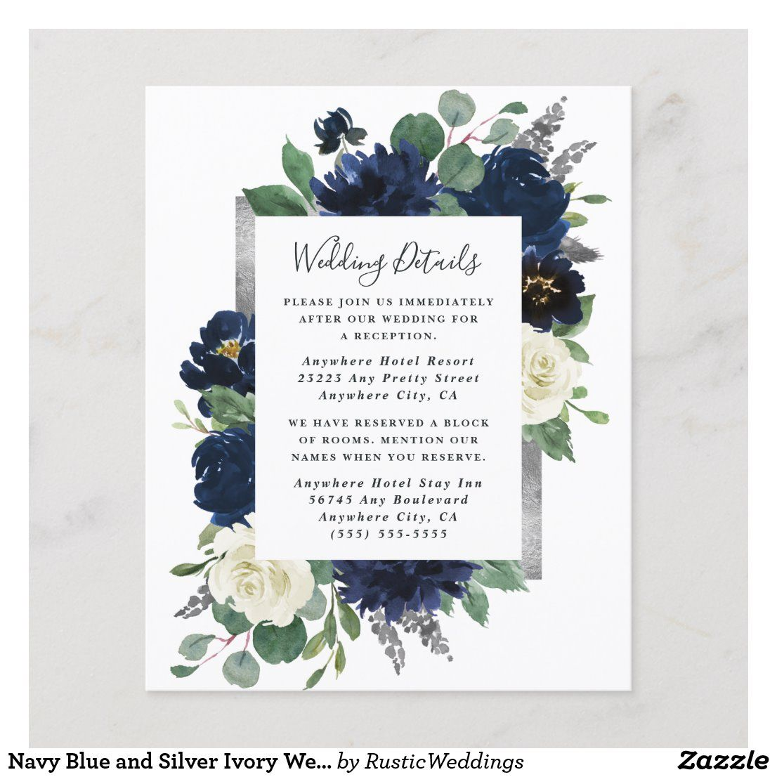 Navy Blue and Silver Ivory Wedding Enclosure Card in 2020