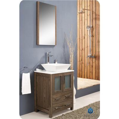 Fresca - Torino Meuble-lavabo de salle de bains moderne 24 po marron ...