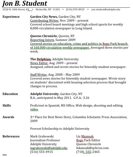 Journalism Student Resume