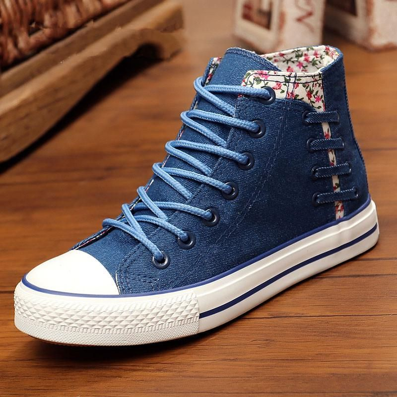 d110e396b2 Floral Denim Shoes for Women 2018 Spring Fall High Top Canvas Shoes ...