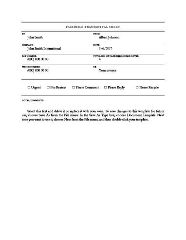Free Fax Template By HloomCom  Fax Cover Sheet