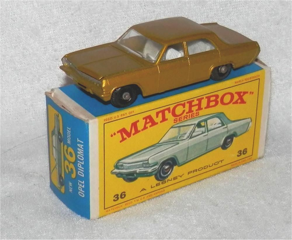 60s.matchboxlesney.36.opel Diplomat.black Plastic Wheels.original.mint In Box from $61.81