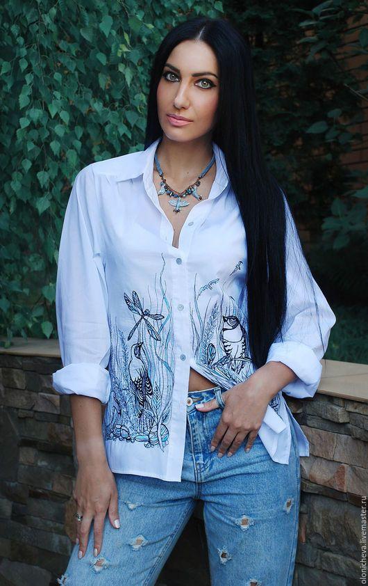 09e17c4bff0 Блузки ручной работы. Ярмарка Мастеров - ручная работа. Купить Белая  вышитая блуза  Птицы в травах  рубашка с ручной росписью. Handmade.