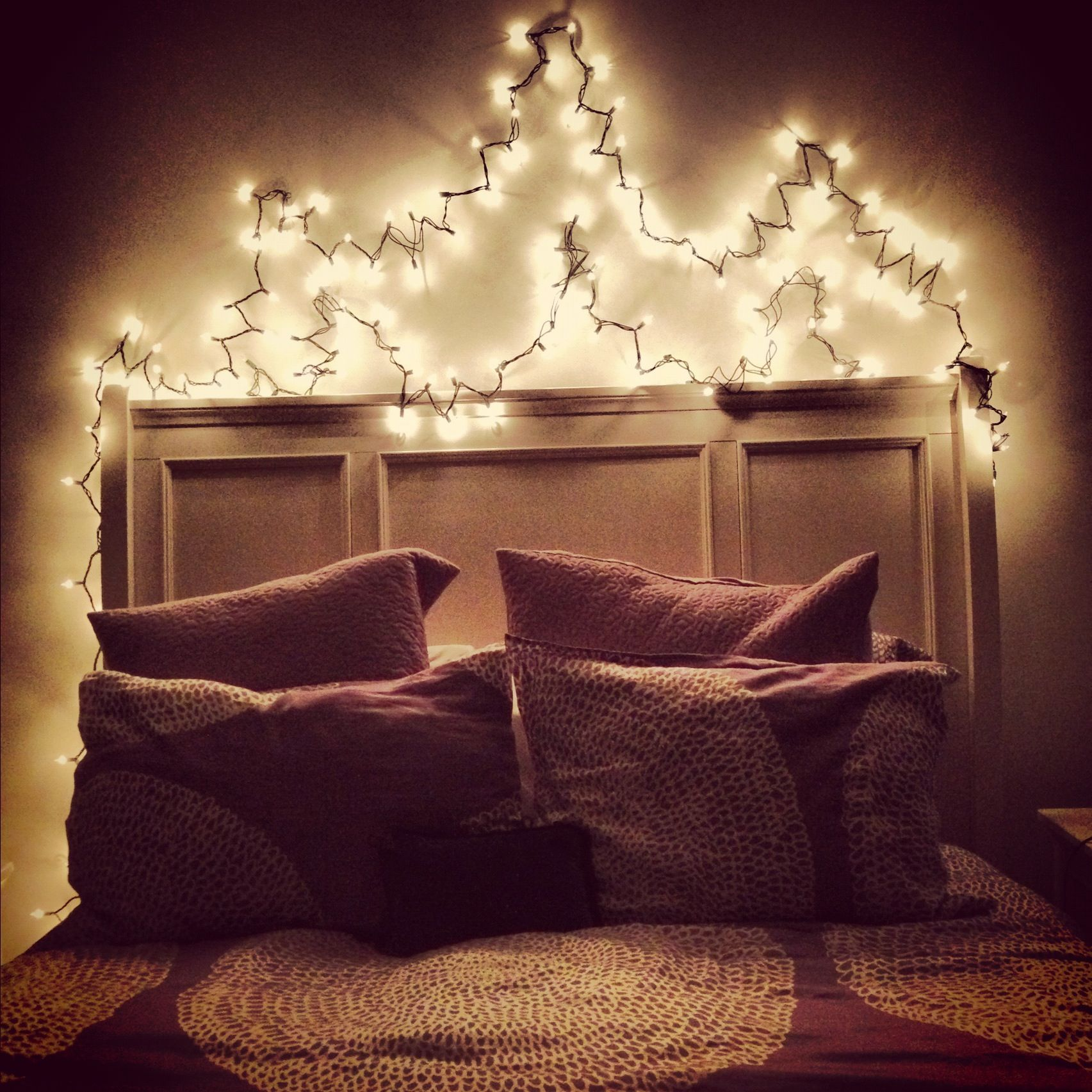 christmas lights over your bed i have this and i love it