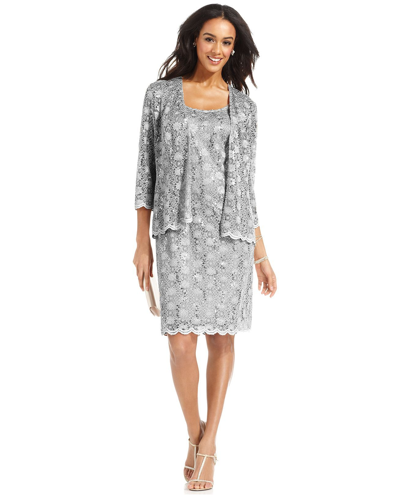 Lace dress macys  R Richards Dress and Jacket Sleeveless Sequined Lace Sheath
