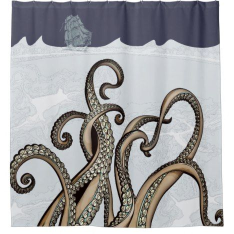 Sailing Ship And Sea Monster Kraken Shower Curtain Check Out This Wonderful Get Something Different Than What Is In The Store