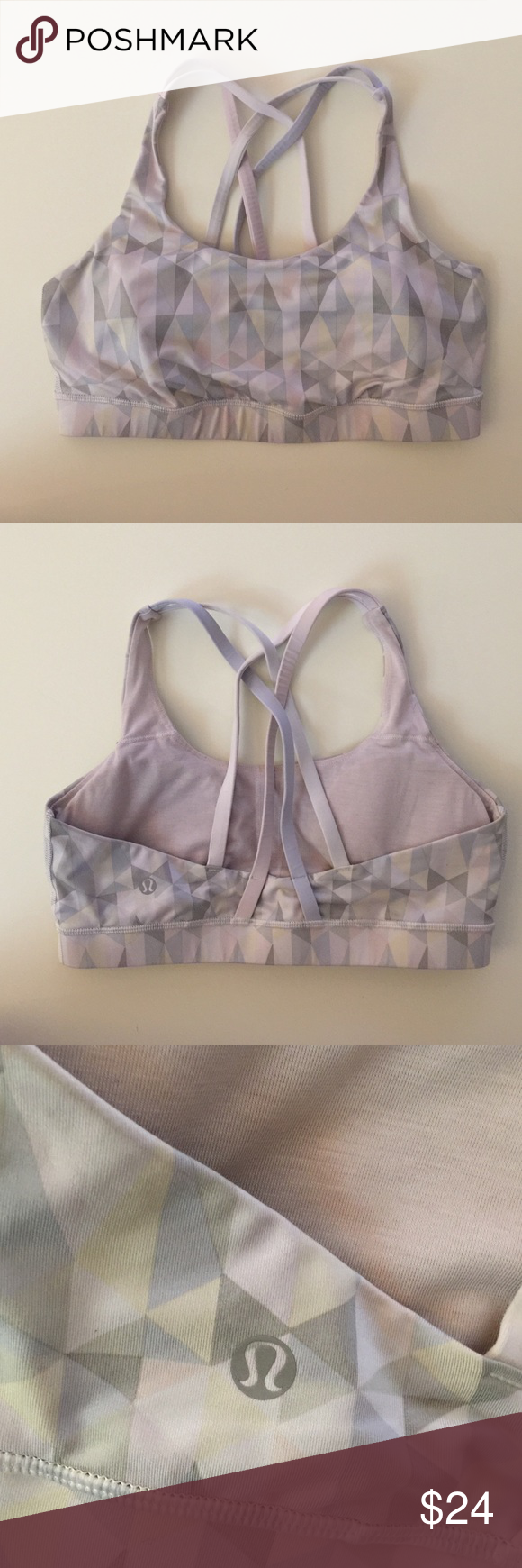 Lululemon Energy bra Well loved but with a lot of life left. Size 8. White with geometric pattern. Includes removable pad inserts. lululemon athletica Tops