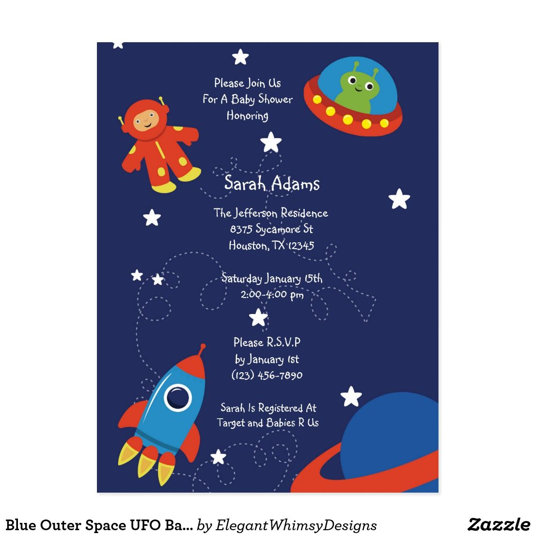 Blue Outer Space UFO Baby Shower Postcard | Outer Space Baby Shower ...
