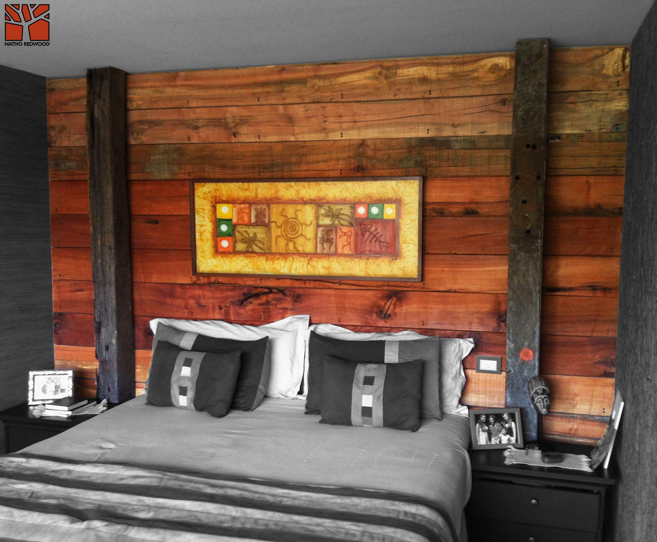 Nativo Redwood. Revestimiento Plankwood Tablones de durmientes como ...