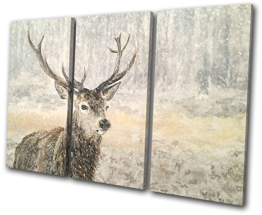 Deer Stag Winter Painting Snow Animals TREBLE CANVAS WALL ART Picture Print