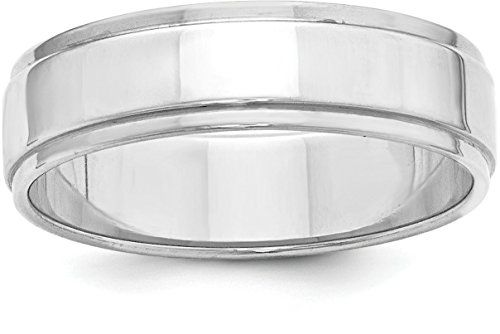 JewelrySuperMart Collection Sterling Silver 8mm Plain Flat Step Down Classic Comfort-fit Wedding Band