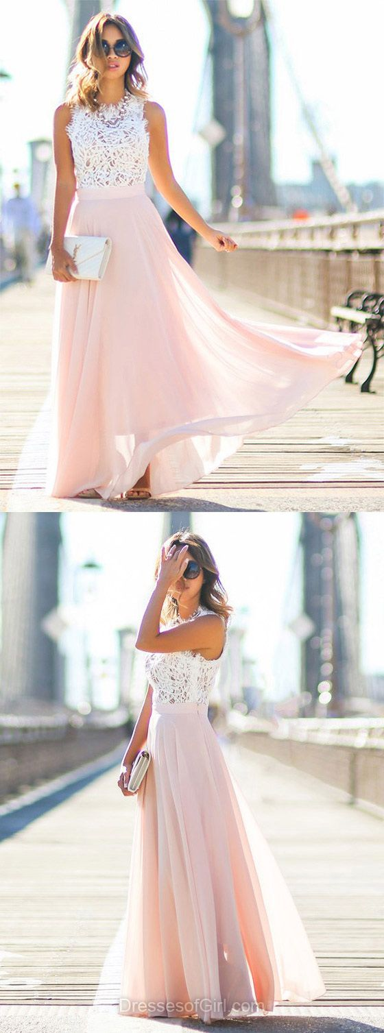 Lace Prom Dress, Long Prom Dresses, Chiffon Evening Gowns, Pink Party Dresses, Princess Formal Dresses