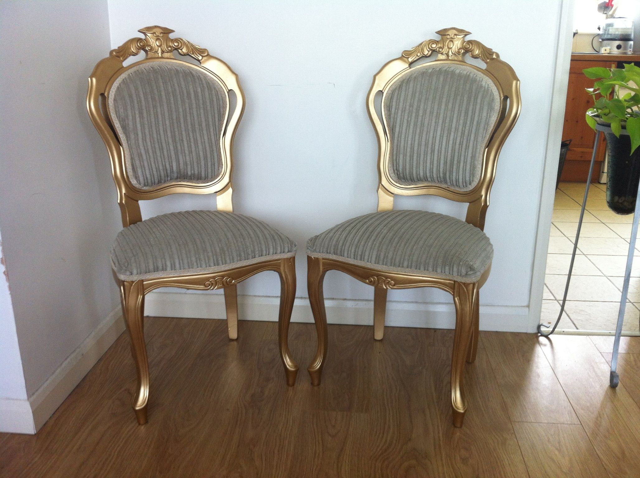 2 shimmery gold french/italian dining chairs with stone (very