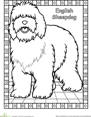 Color The English Sheepdog Worksheet Education Com English Sheepdog Cat Coloring Book Dog Coloring Page