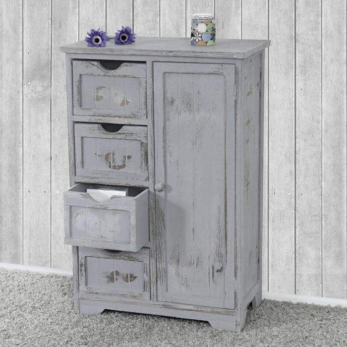 kommode schrank 82x55x30cm shabby look vintage grau kommode schr nkchen und shabby. Black Bedroom Furniture Sets. Home Design Ideas