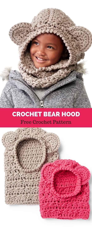 CROCHET BEAR HOOD, 2/4 YRS [ FREE CROCHET PATTERN #crochetbearpatterns