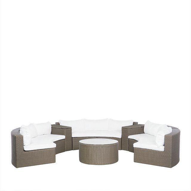 Lounge Set Rattan hellbraun 9-Sitzer rund Auflagen weiss SEVERO