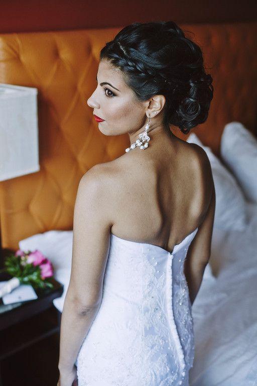 Neutral eyes. Red lips. Braided updo. #bridalhair #bridalmakeup  www.danielarodrigueznyc.com