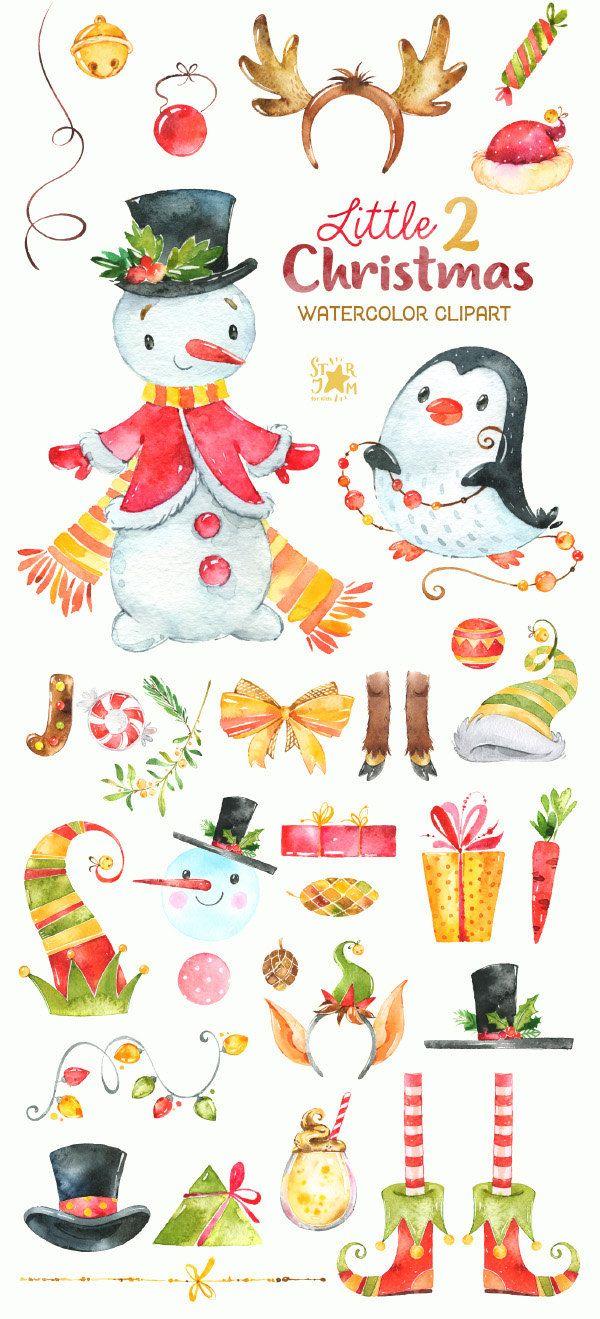 watercolour clipart snowman winter [ 600 x 1319 Pixel ]