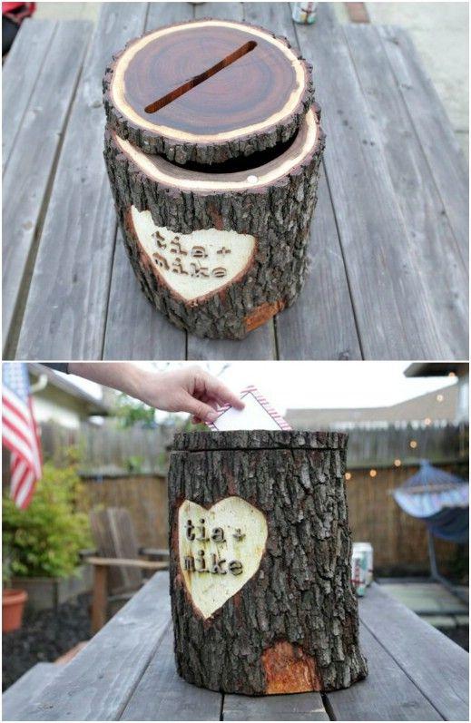 Rustic Log Wedding Card Box