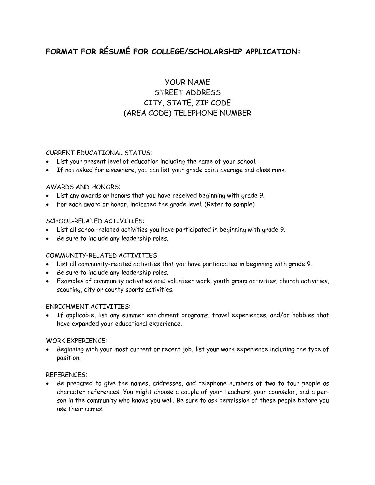 College scholarship resume template 1197 http for Sample resume for high school students applying for scholarships