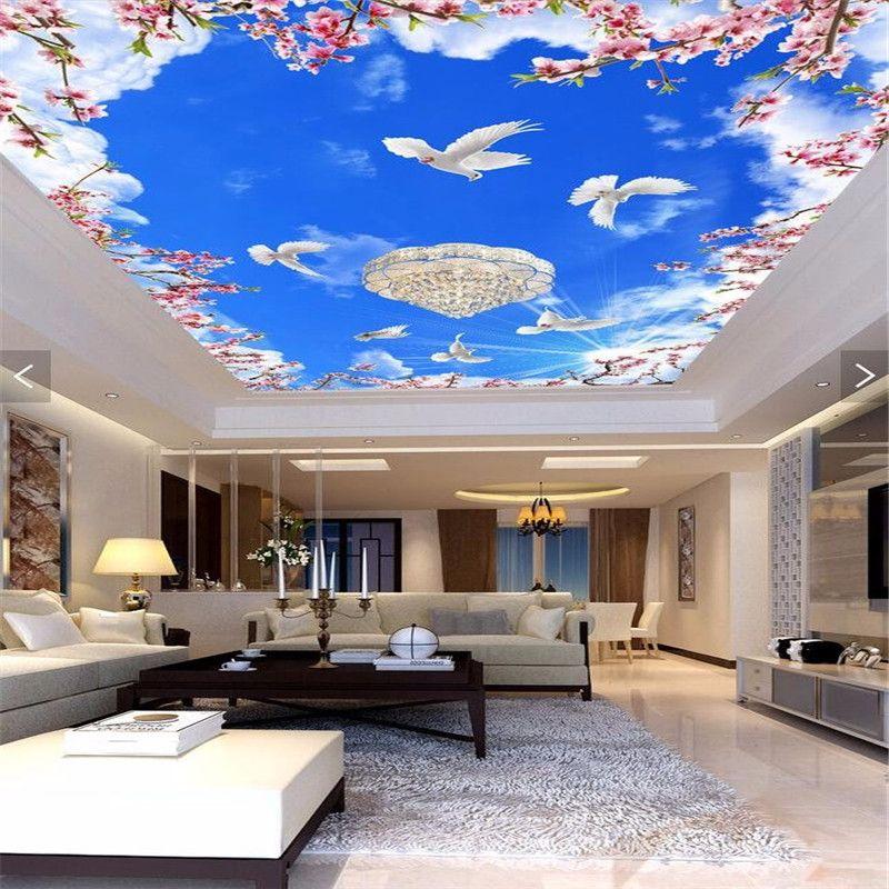beibehang Custom 3D wallpaper dove flower blue sky ceiling