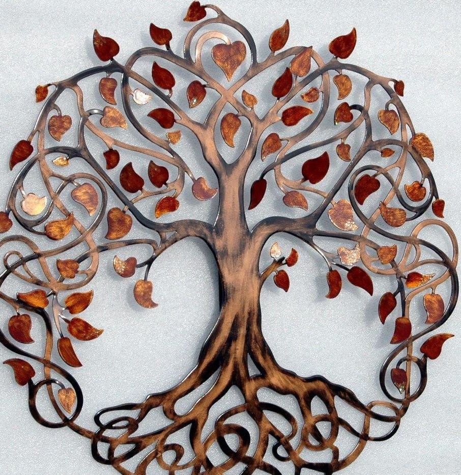 Red and gold infinity tree metal tree wall art unique gift