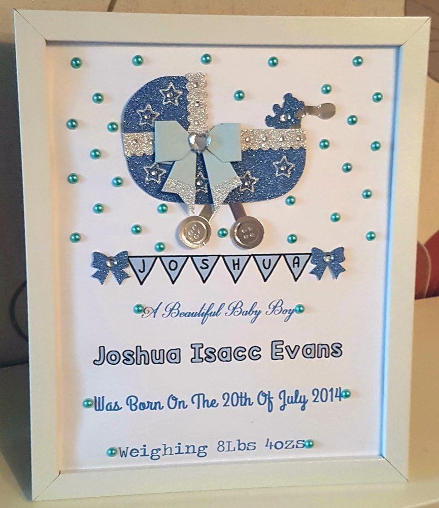 Personalised New Baby Birth Christening Girl Boy Framed Handmade