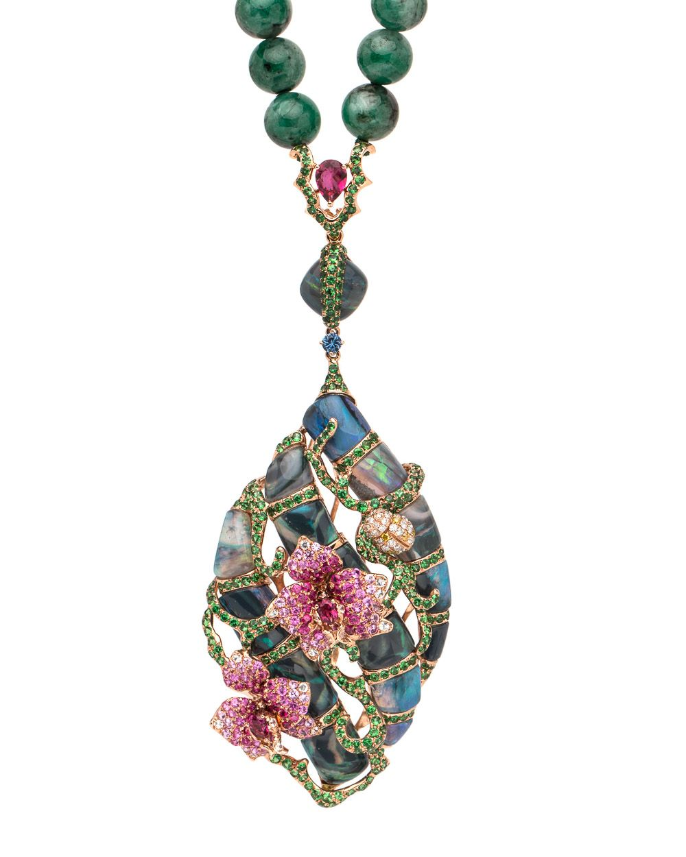 Emerald Bead with Opal Pendant Necklace by Wendy Yue