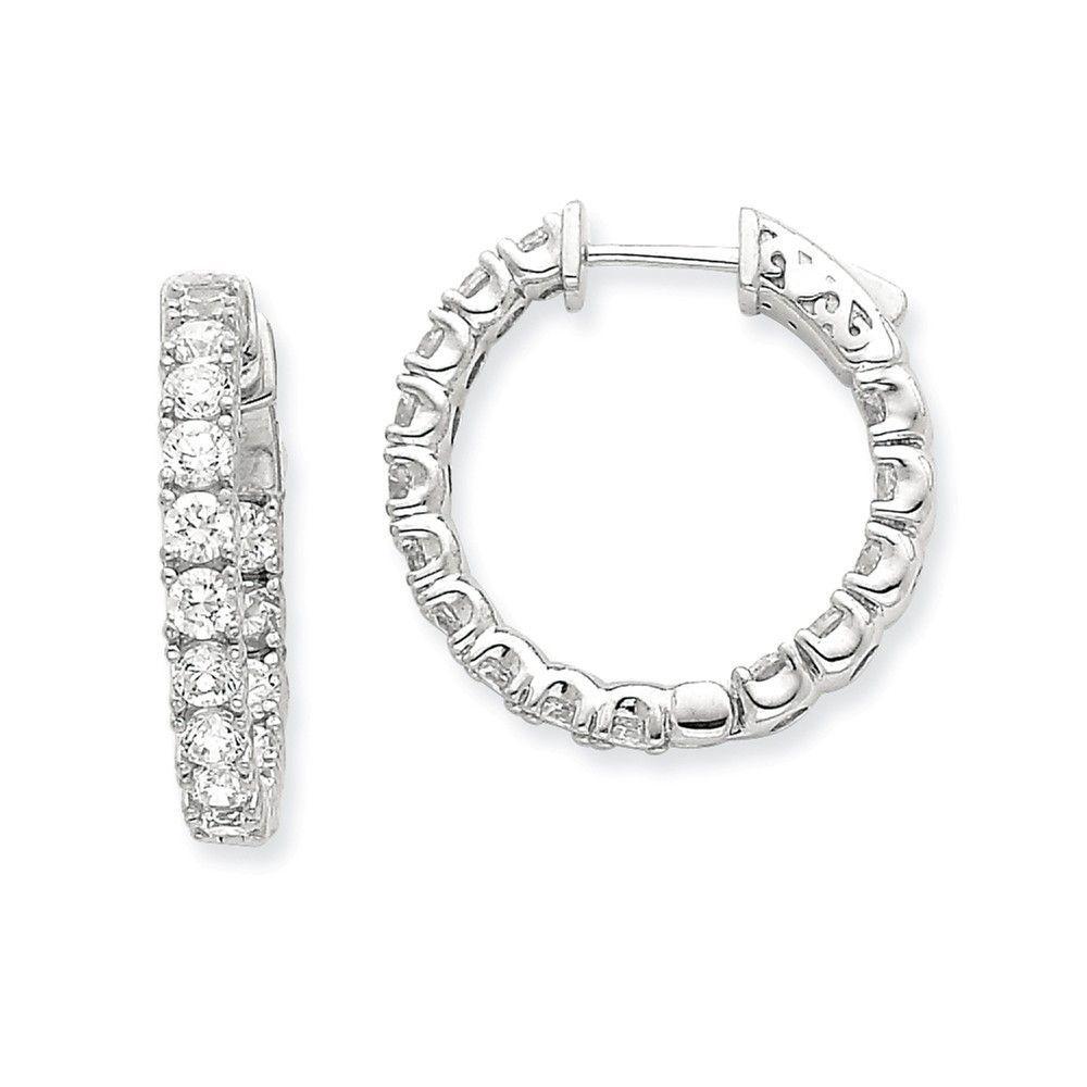 14k WG Diamond Round Hoop w/Safety Clasp Earrings