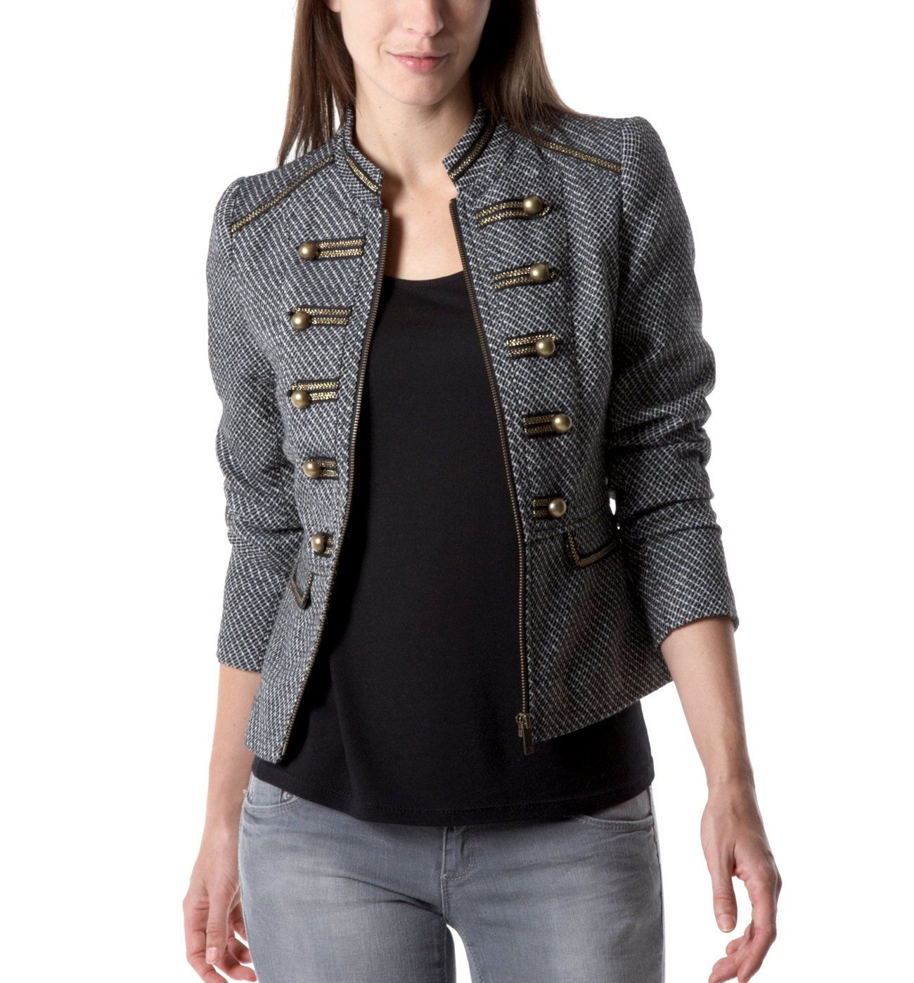 jacket Black Military Promod Jackets Women print thQxCsdr