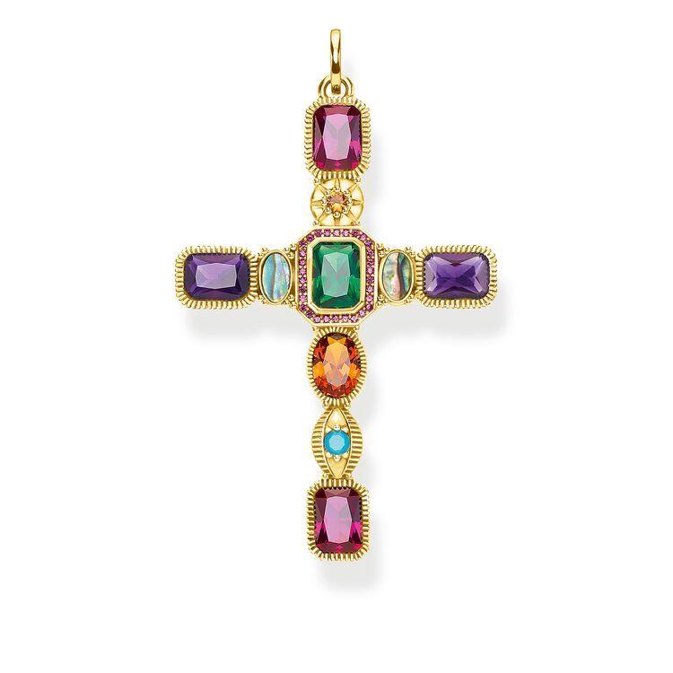 Pendentif croix pierres colorées or – PE859 295 7 in 2020