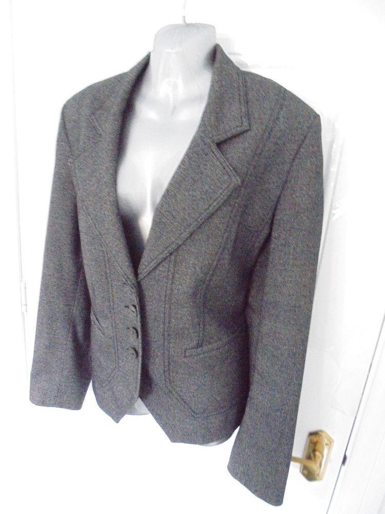 1c37292327e NEXT Ladies Size 18 Black Grey Mix Button Up Smart Jacket Blazer Lined  Pockets  fashion  clothing  shoes  accessories  womensclothing   coatsjacketsvests ...