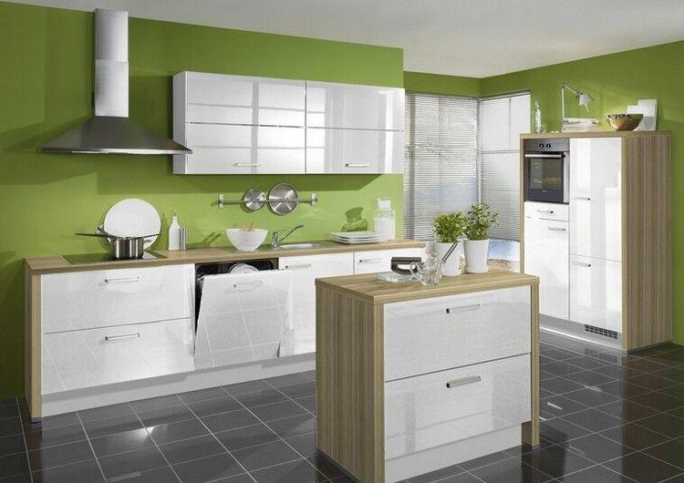 grüne Wandfarbe bringt eine frische Note in die Küche - kche wandfarben