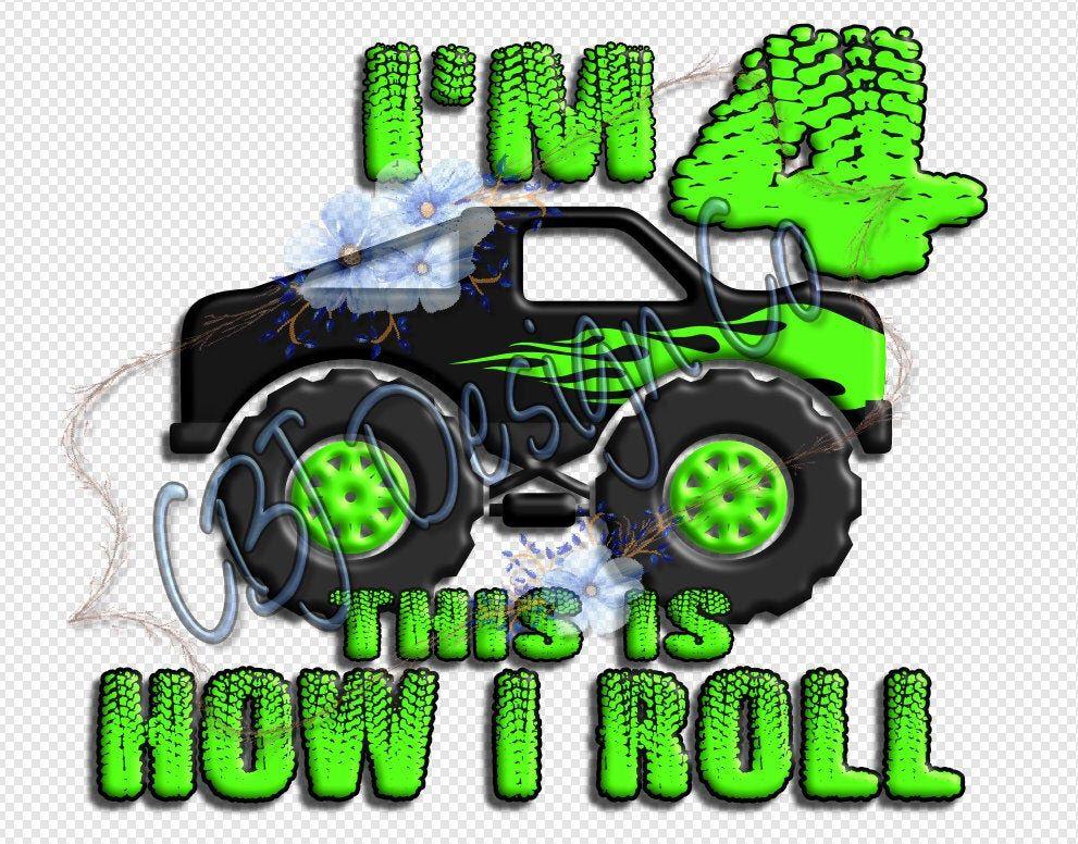 Digital Download Monster Truck 4th Birthday Design Png For Etsy In 2021 Monster Truck Birthday Monster Trucks Monster Truck Party