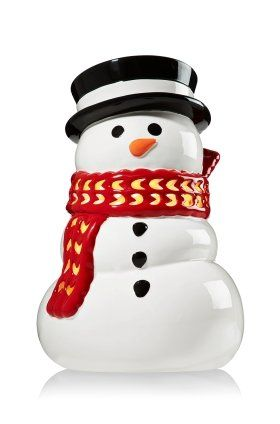 Bath Amp Body Works Red Scarf Snowman Luminary Candle Holder For