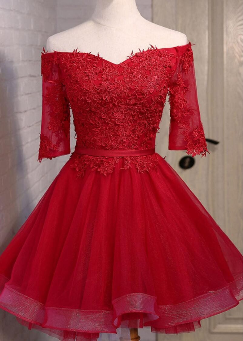 Off shoulder short sleeve red lace cute homecoming prom dresses