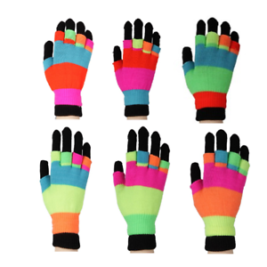 TWO PAIRS Luminous Skully Magic Stretchy Winter Gloves One Size Fits Most #1
