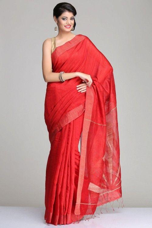 1361786ead3e3d Bengal Handloom Saree | Red Matka Silk Saree With Gold Zari Striped Border  & Abstract Gheech