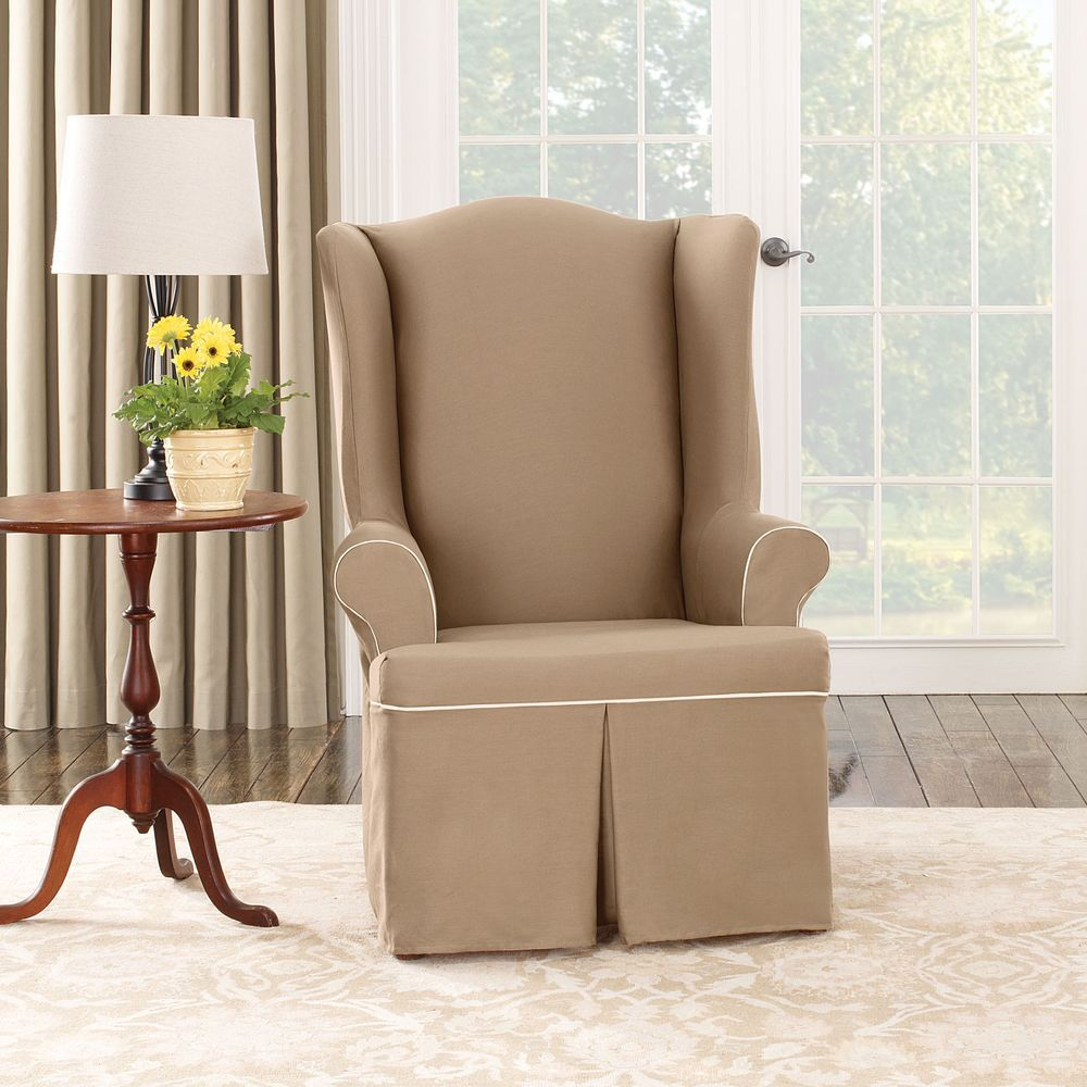 Chevron wing chairs - Sure Fit Cocoa Duck Wing Chair Slipcover Overstock Com Shopping The Best Deals