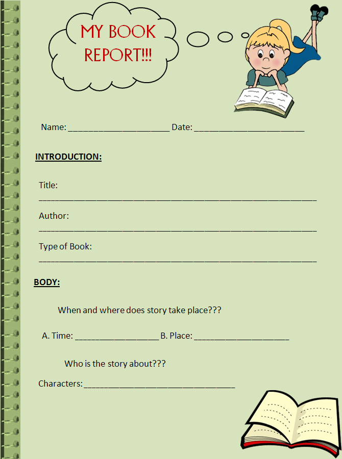 A Book Report Template Is Used To Write Brief Summary About A Book