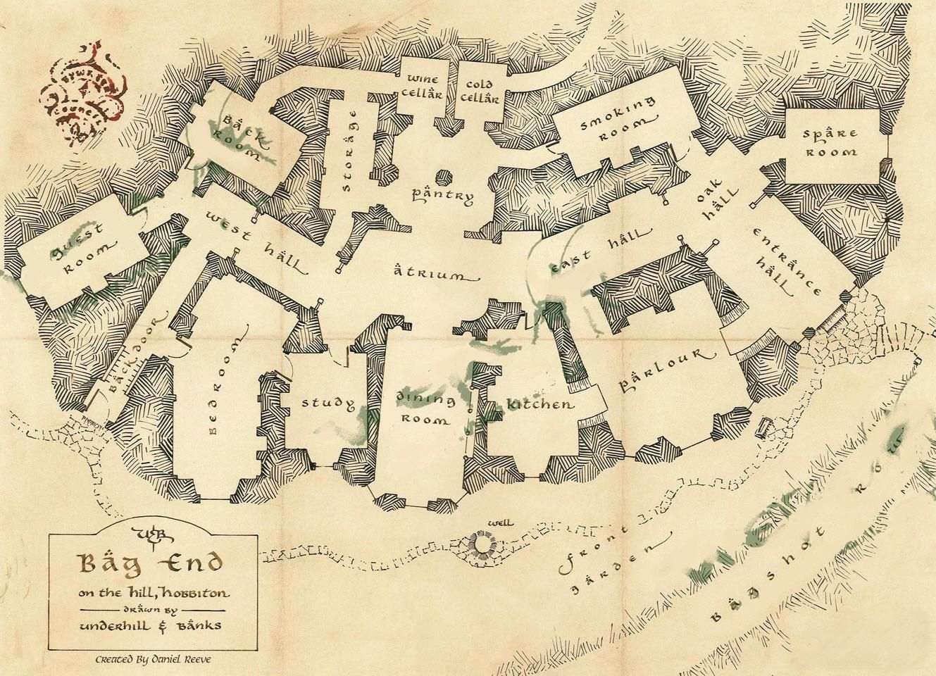 """The """"architectural plan"""" for Bag End, the earth sheltered ... on green plan, church plan, salvation plan,"""