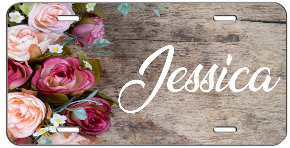 PERSONALIZED CUSTOM ROSES AND WOOD VANITY LICENSE PLATE AUTO TAG