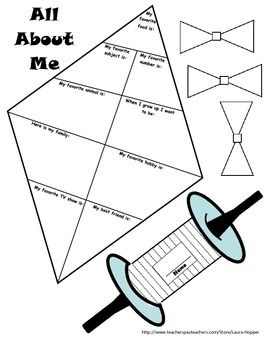 All About Me Kite And Partner Activities  Kites Activities And